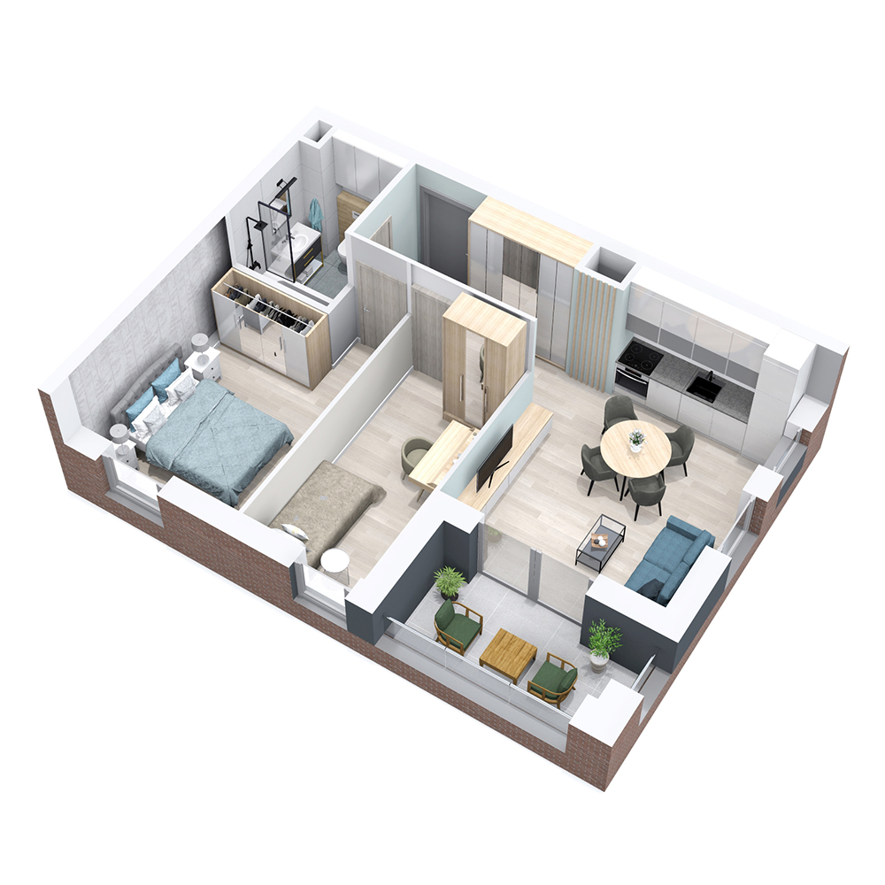 Mieszkanie 3-pokojowe PP-8B-43