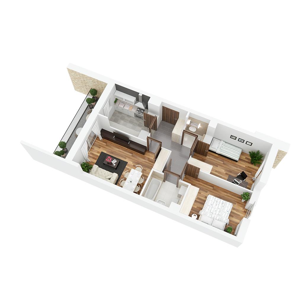Mieszkanie 3-pokojowe PP-24-45