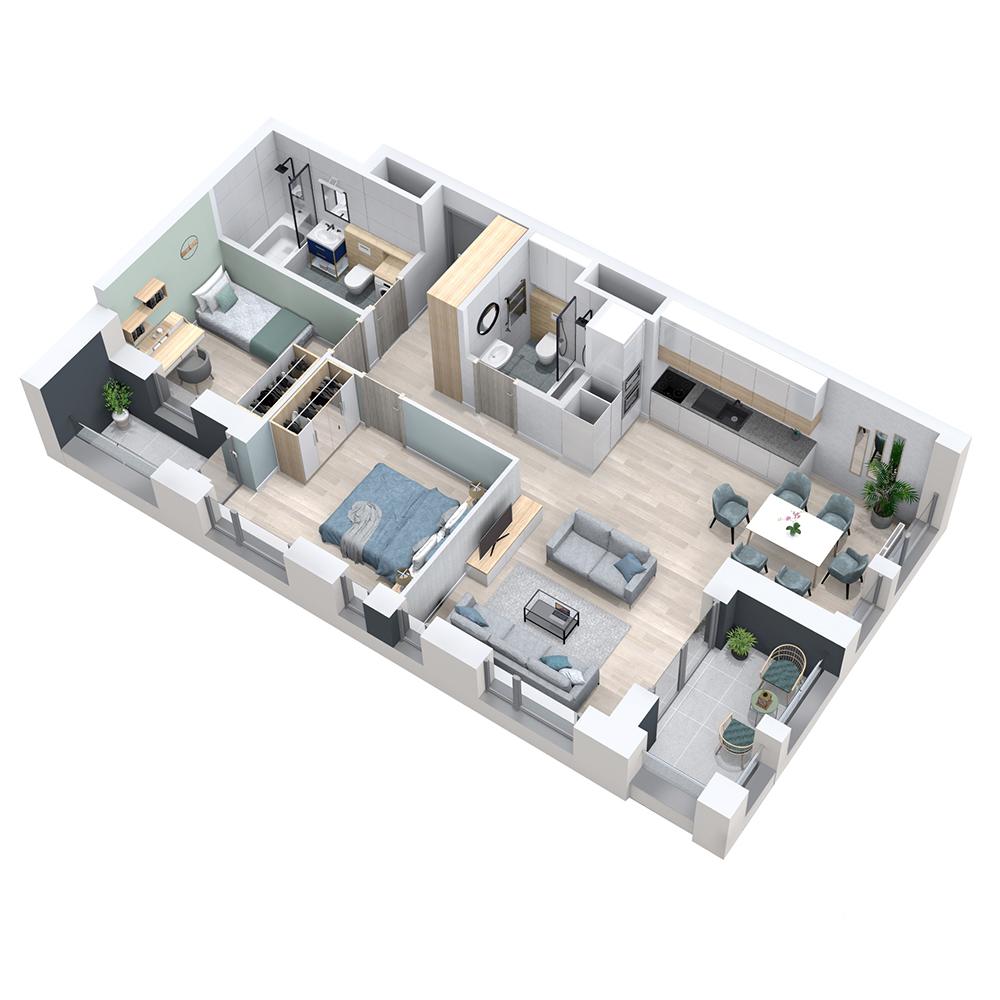 Mieszkanie 3-pokojowe PP-8D-50