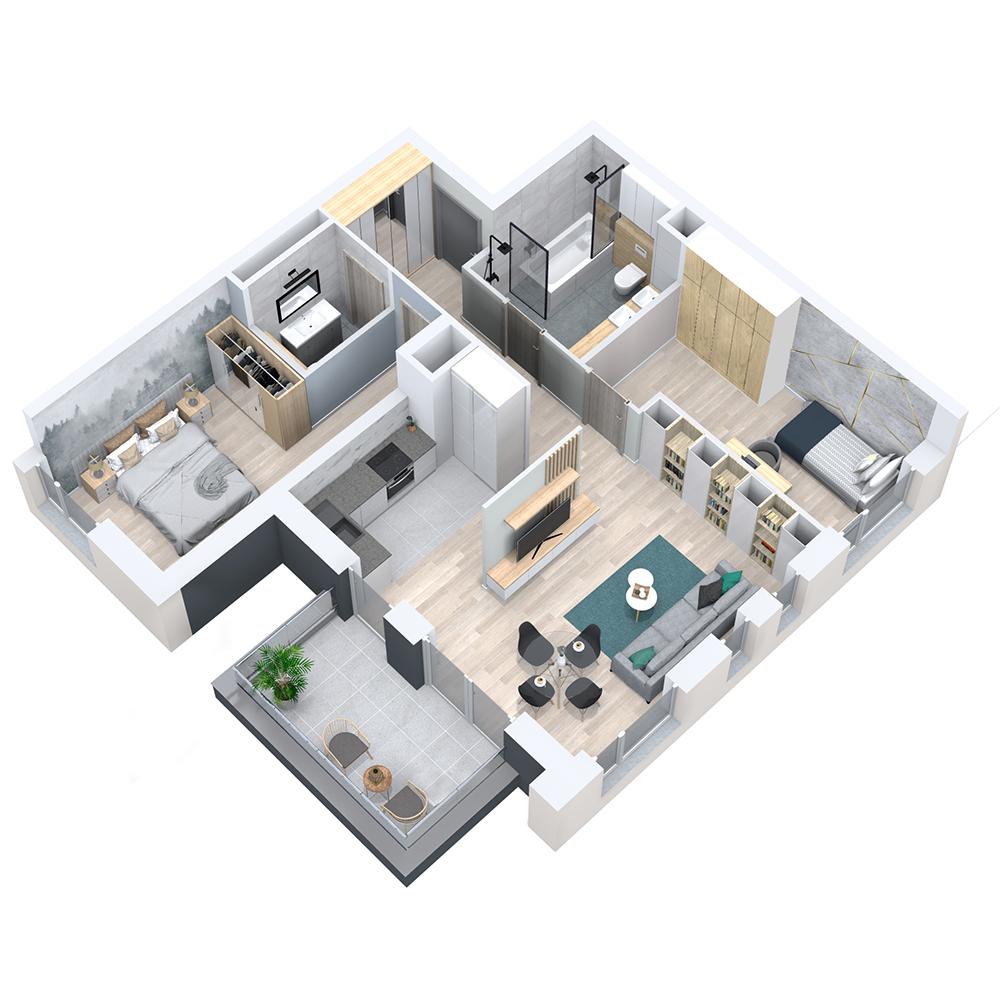 Mieszkanie 3-pokojowe PP-8D-24